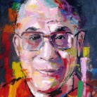 14th Dalai Lama. 'Think Different' series. Oil on canvas. 41cm x 33cm. Richard Day. £290 or £490 with Ghandi