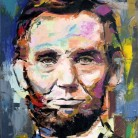 Abraham Lincoln. 'Think Different' series. Oil on canvas. 41cm x 33cm. Richard Day. £290 or £490 with Barack Obama