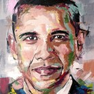 Barack Obama. 'Think Different' series. Oil on canvas. 41cm x 33cm. Richard Day. £290 or £490 with Abraham Lincoln