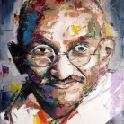 Mahatma Ghandi. 'Think Different' series. Oil on canvas. 41cm x 33cm. Richard Day. £290 or £490 with 14th Dalai Lama