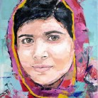 Malala Yousafzai. 'Think Different' series. Oil on canvas. 41cm x 33cm. Richard Day. £290 or £490 with Nelson Mandela