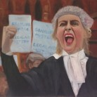 The Battle for Legal Aid. The Battle for Legal Aid. Oil on canvas, by Anthony Wooding. Price £500.