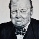 Winston Churchill. Oil on canvas. 59.5cm x 42cm. Katie WIlliamson. £235