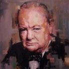 Winston Churchill. 'Think Different' series. Oil on canvas. 70cm x 60cm. Richard Day. £525