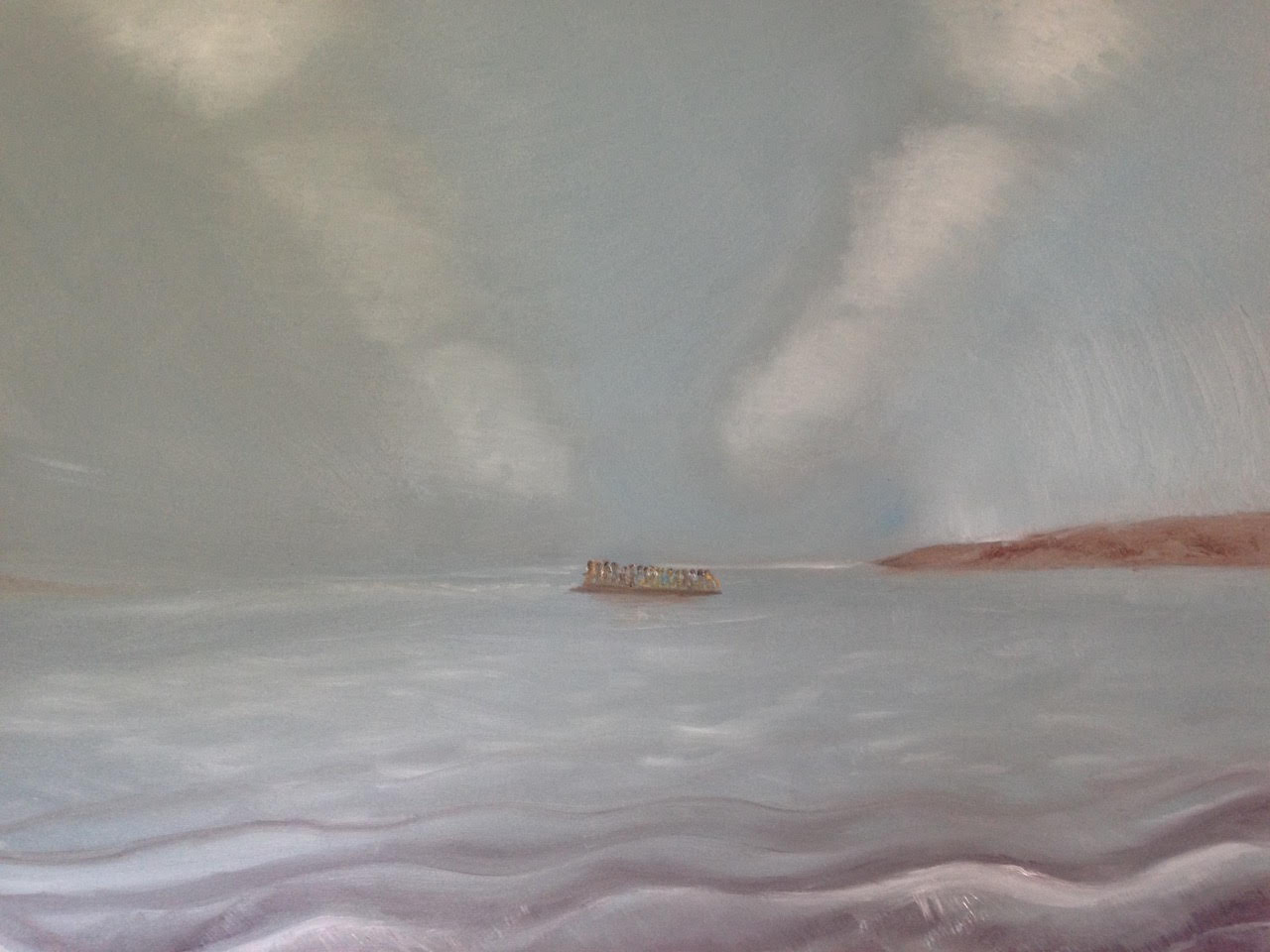 Arriving at Lesvos Ant Wooding Oils on Canvas 90cm x 70cm For Sale by Bid, (starting bid £330), with 100% of proceeds going to Suffolk Refugee Support *This painting was inspired by an original photograph, 'A boat carrying over 40 Afghans approaches Lesvos after crossing the Aegean from Turkey - Lesvos, Greece. October 31st 2015', by Giles Duley.