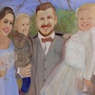 The Lewis Family Ant Wooding Oils on Canvas 90cm x 90cm NFS