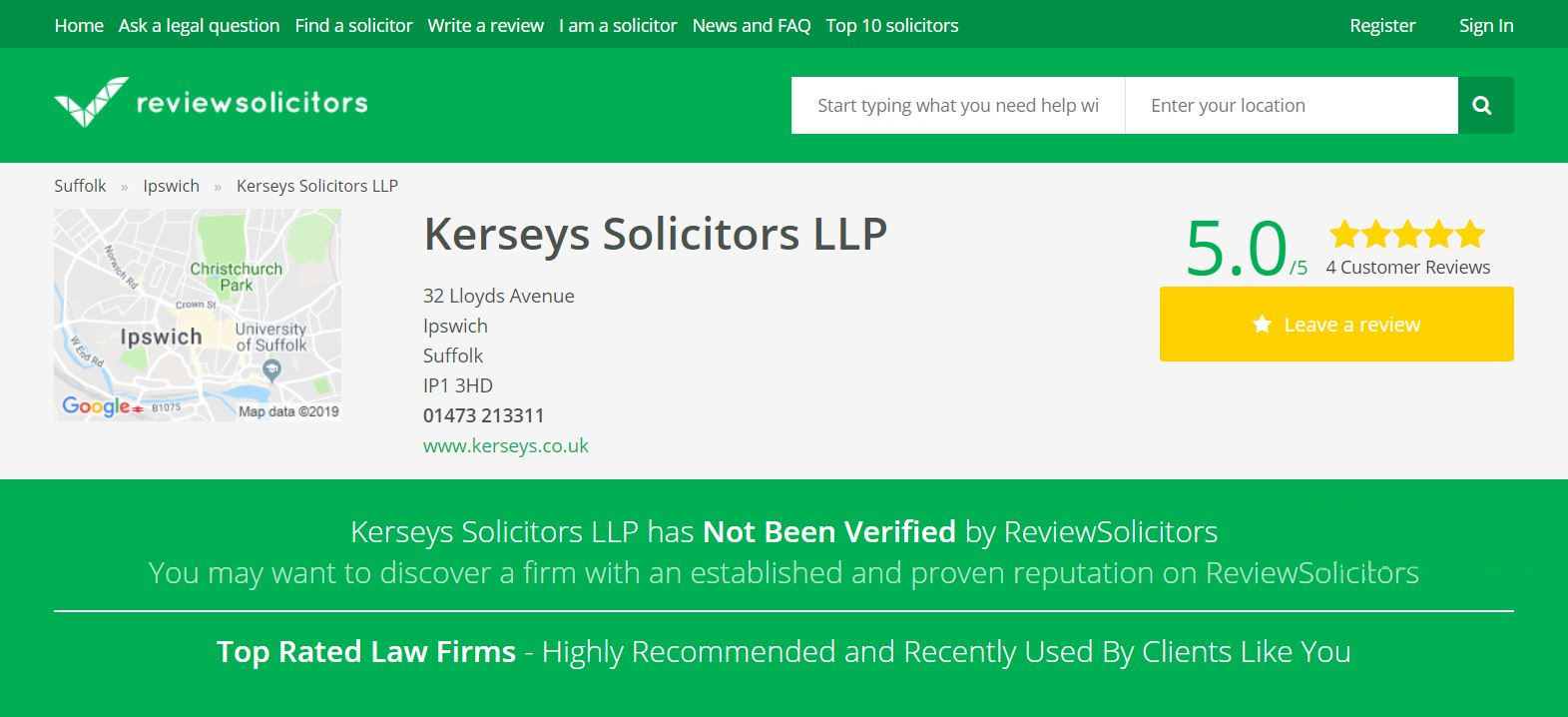 Review Solicitors Kerseys